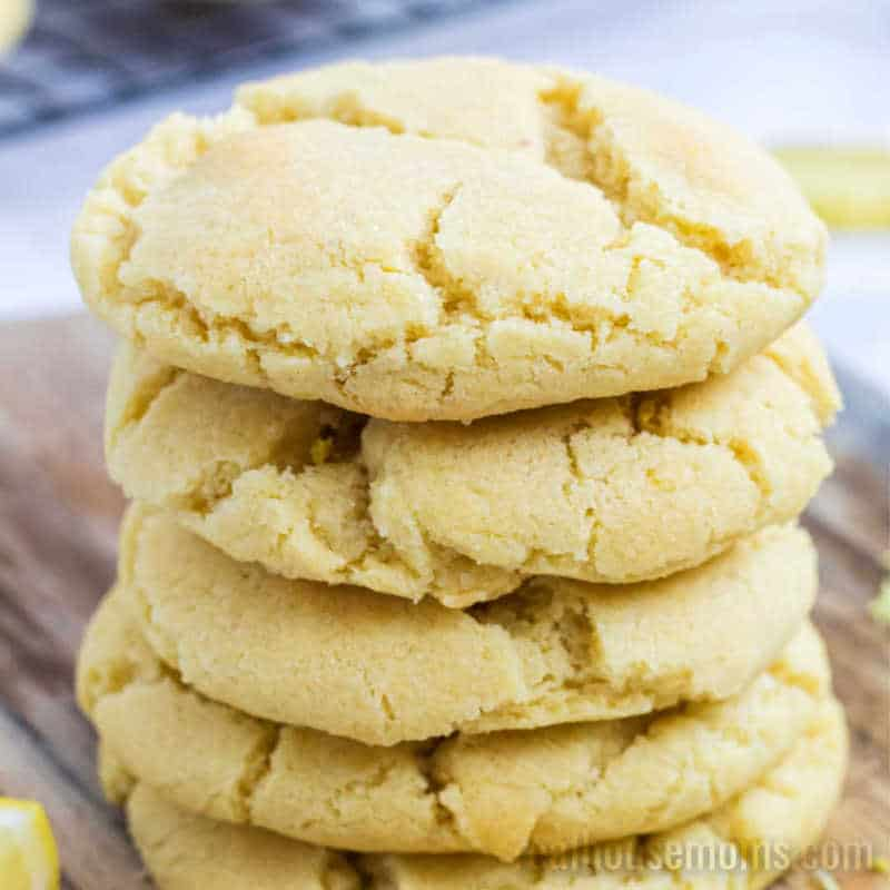 A stack of Lemon Sugar Cookies on a board