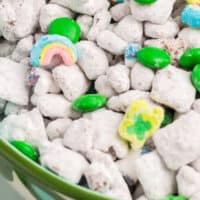 close up of Leprechaun Snack Mix in a bowl with recipe name at bottom