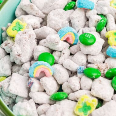 square iamge close up of Leprechaun Snack Mix with lucky charms marshmallows and green M&Ms