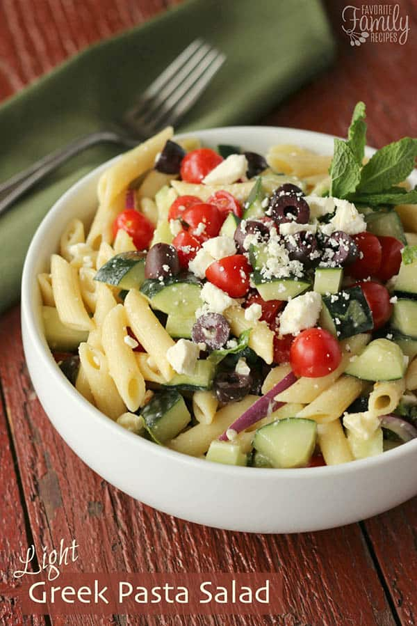 Light Greek Pasta Salad - Favorite Family Recipes