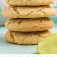 stack of 5 lime sugar cookies next to lime slices with recipe name at bottom