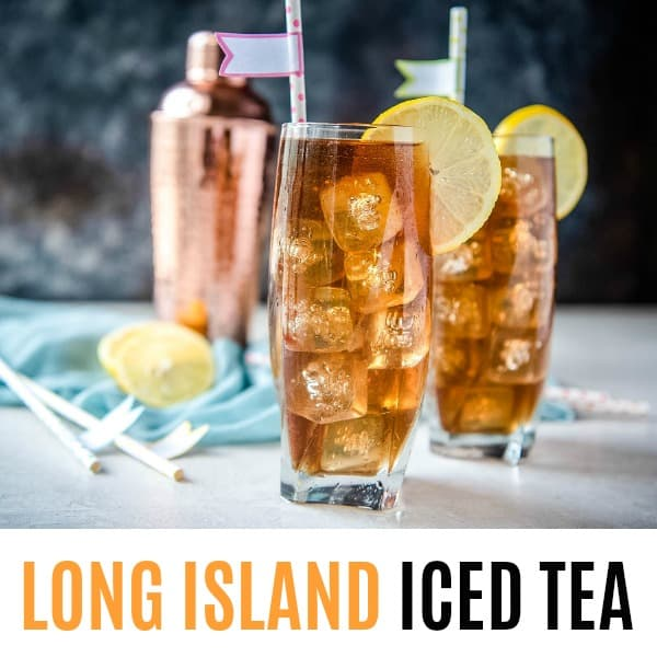 square image of long island iced tea with text