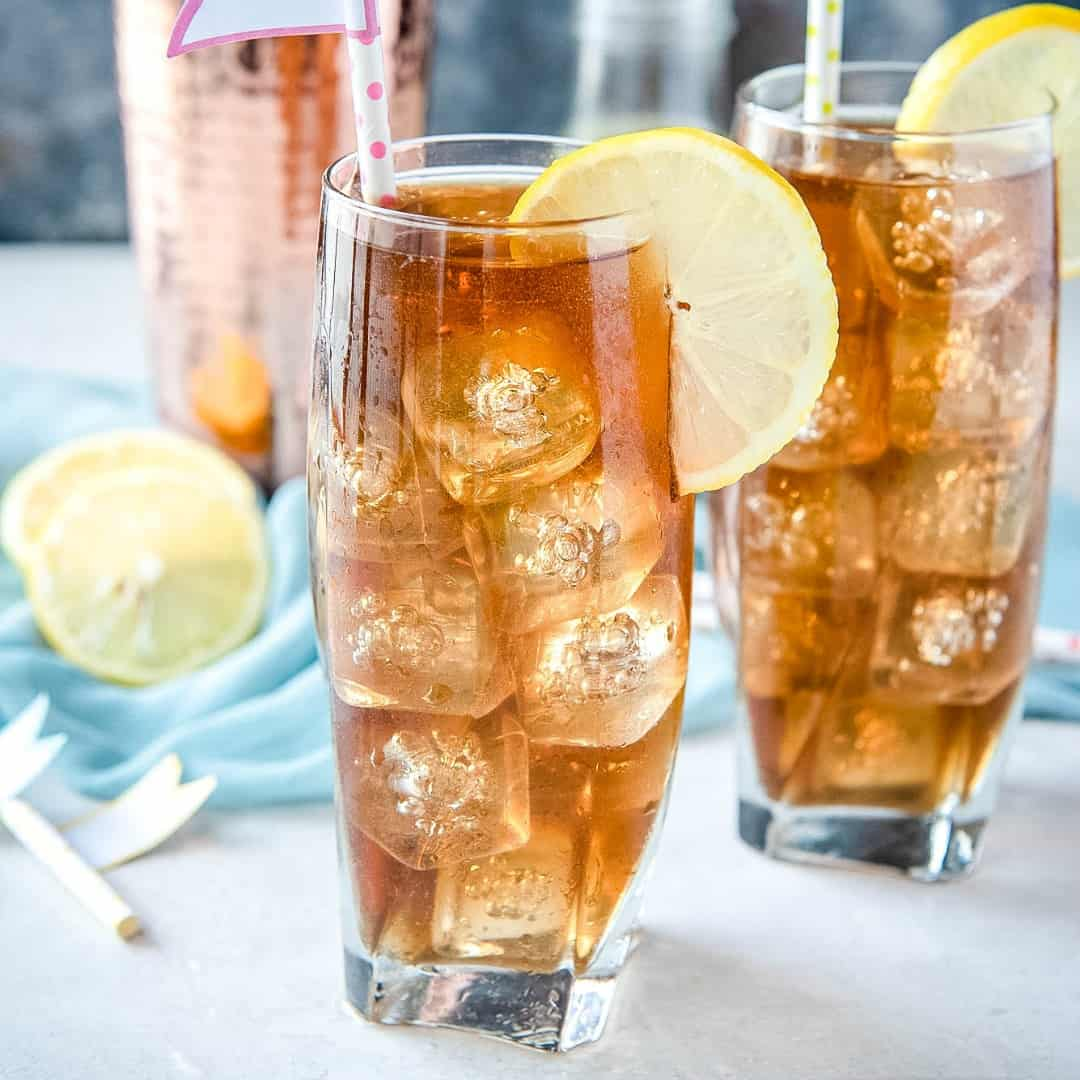 Long Island Iced Tea made with 5 types of liquor, sweet & sour, and a splash of cola gives this cocktail its deceptive look and name. So tasty but you'll only need one!