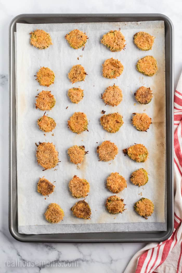baking sheet with oven fried pickles