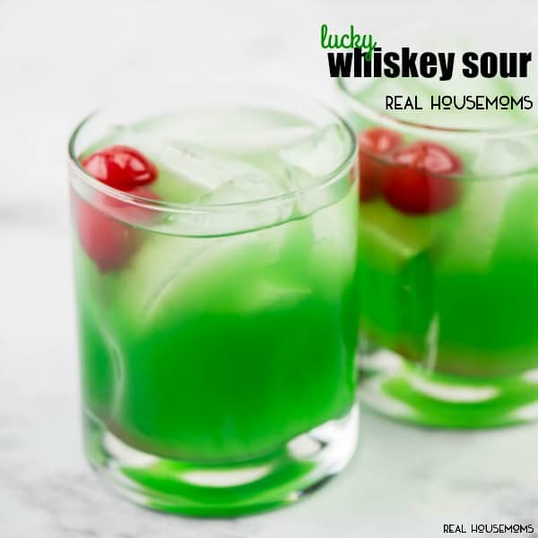 Don't forget to serve up a Lucky Whiskey Sour at your St. Patrick's Day party! Using homemade Sweet and Sour Mix makes anyone lucky to taste this drink recipe!