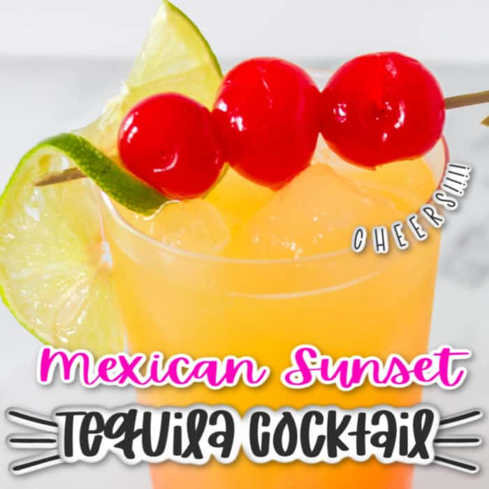 Square image of Mexican sunset tequila cocktail , half glass