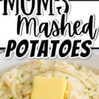 milk pouring into potatoes and bowl of mashed potatoes