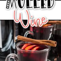 Image of two pic collage of Mulled Wine, top image of silver serving spoon with wine being poured into a clear glass