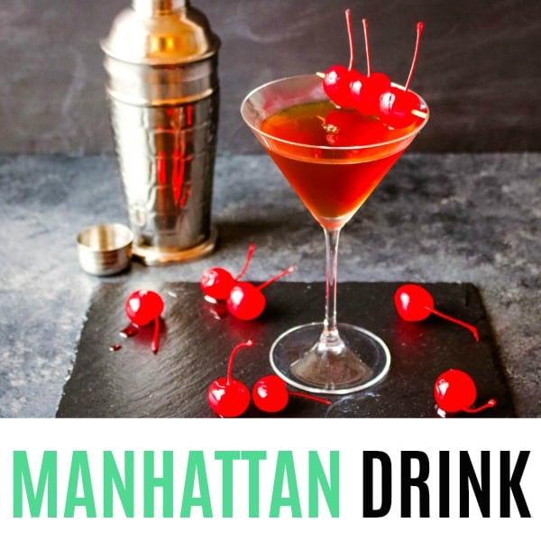 square image of a manhattan drink with text