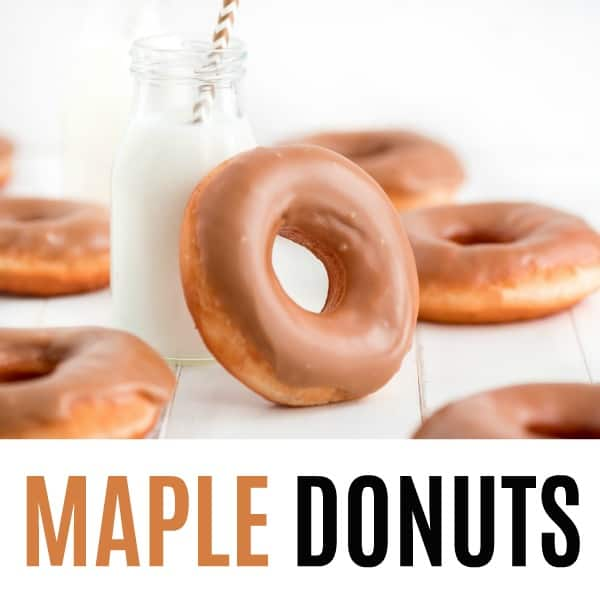 square image of maple donuts with text