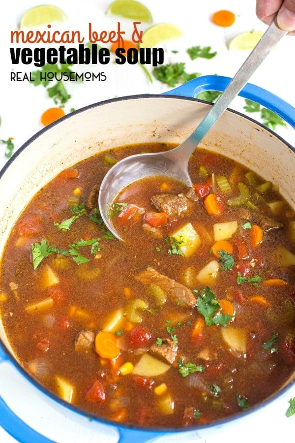 MEXICAN BEEF AND VEGETABLE SOUP is a family-favorite loved by all! This soup tastes like it's simmered all day, but only takes 30 minutes from start to finish!