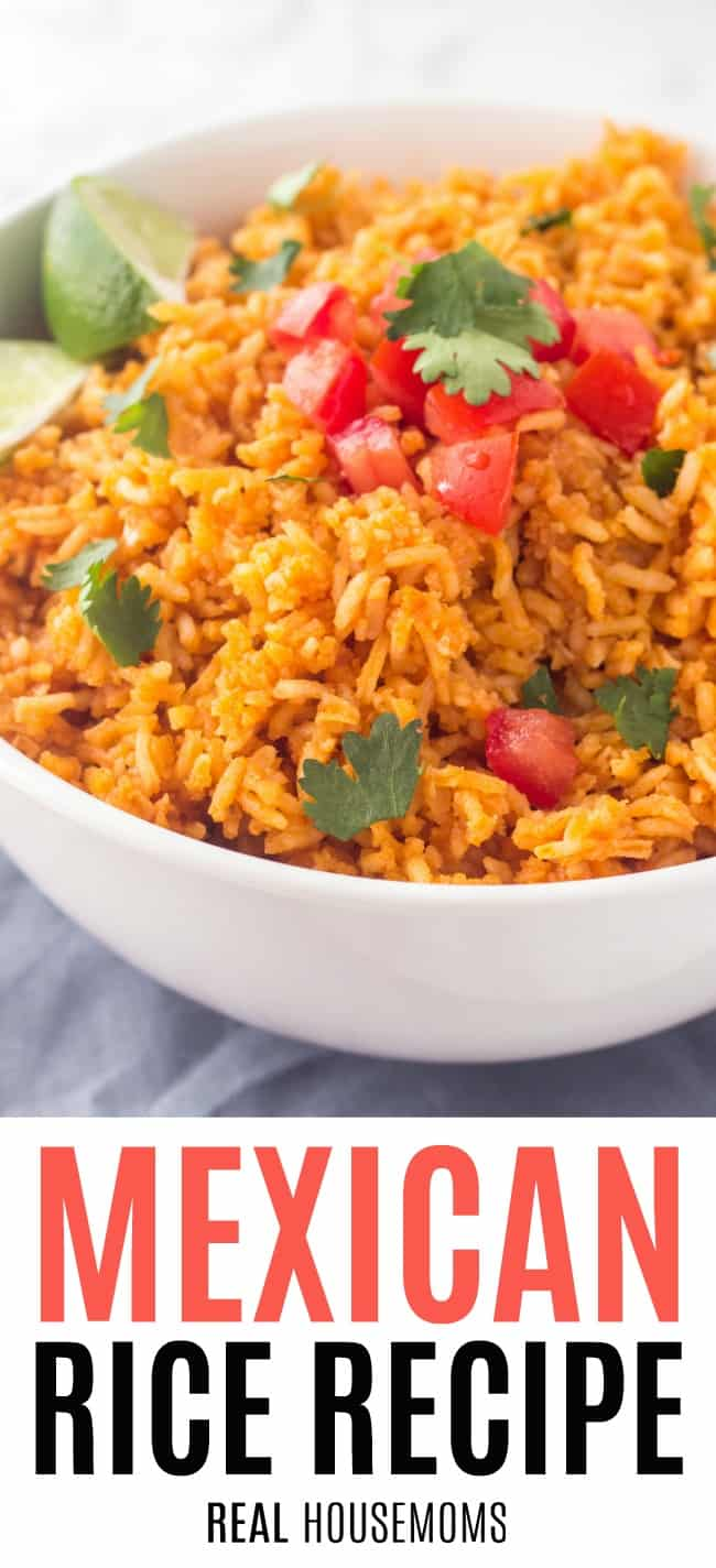 mexican rice recipe in a serving bowl garnished with cilantro and tomato
