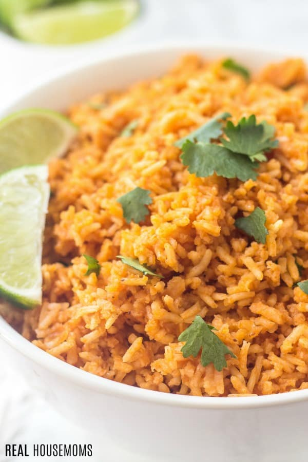 close up of mexican rice recipe