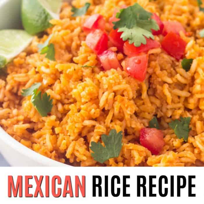mexican rice recipe square image with text