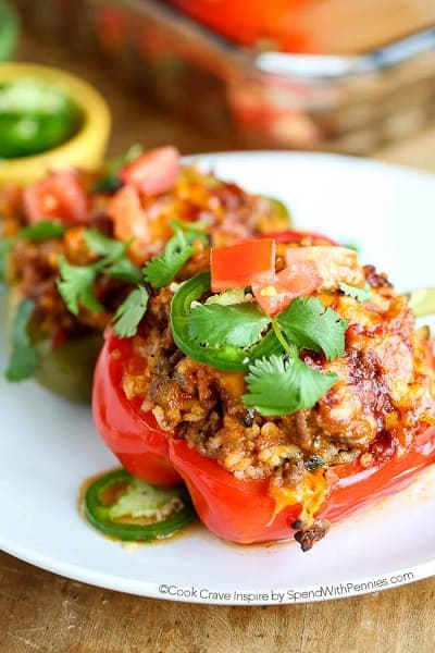 Mexican Stuffed Peppers - Spend with Pennies
