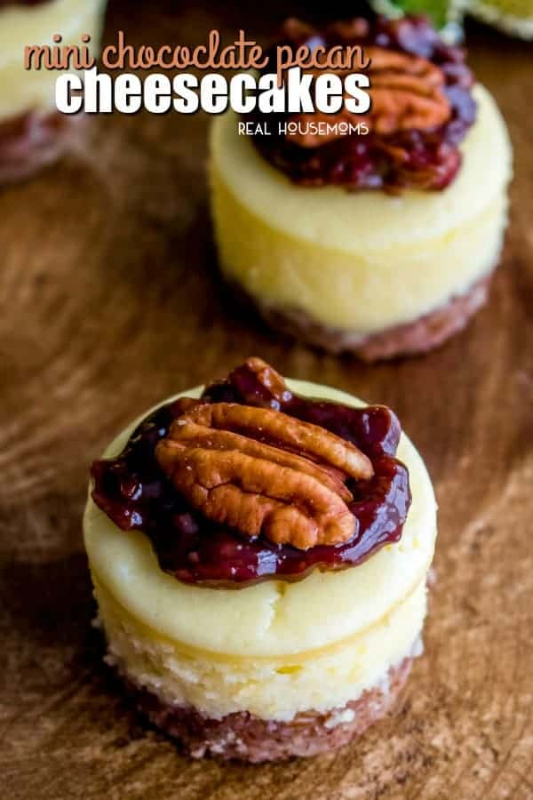 This easy Mini Chocolate Pecan Pie Cheesecake recipe is a fun twist on a classic pecan pie!