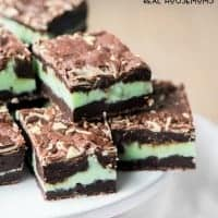 Mint Fudge Stuffed Brownies are the perfect combination of mint and chocolate, chewy and fudgy, making them the most delicious brownie you'll have this week!