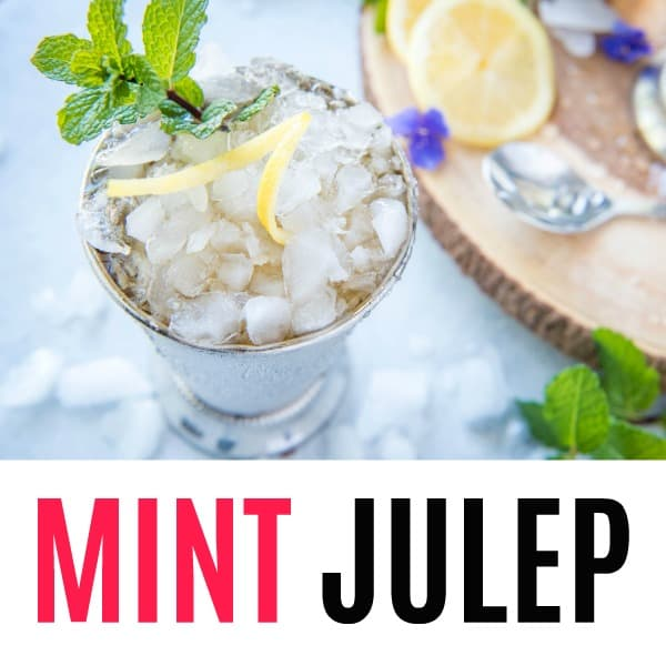 square image of mint julep with text
