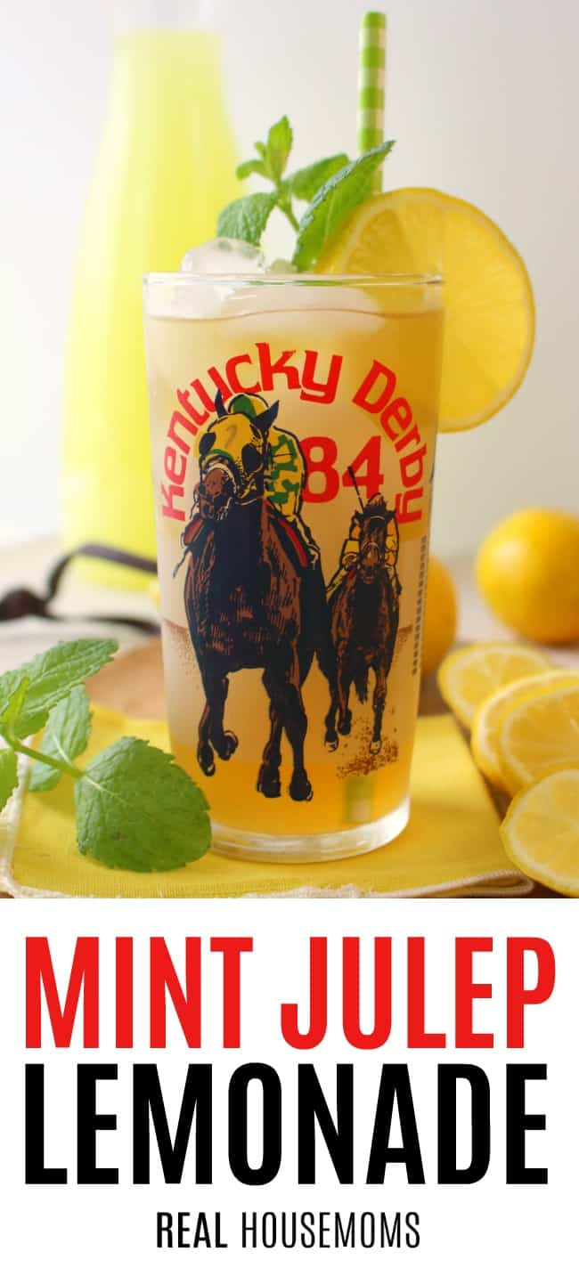 mint juelp lemonade served in a commemorative derby glass