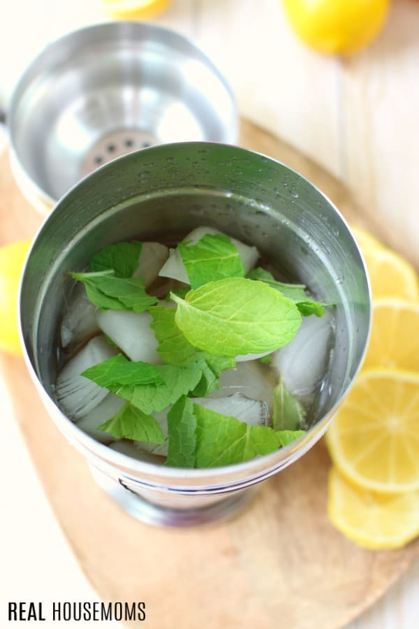 cocktail shaker with ice and mint for mint julep lemonade