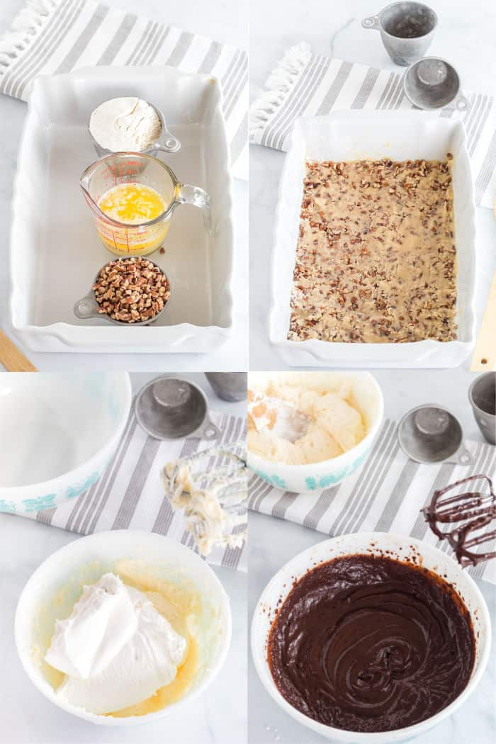 flour, melted butter, and chopped pecans in ramekins in a baking dish. Pecan crust pressed into a baking dish, cream cheese, white chocolate pudding mix and powdered sugar in a mixing bowl, chocolate pudding in a mixing bowl