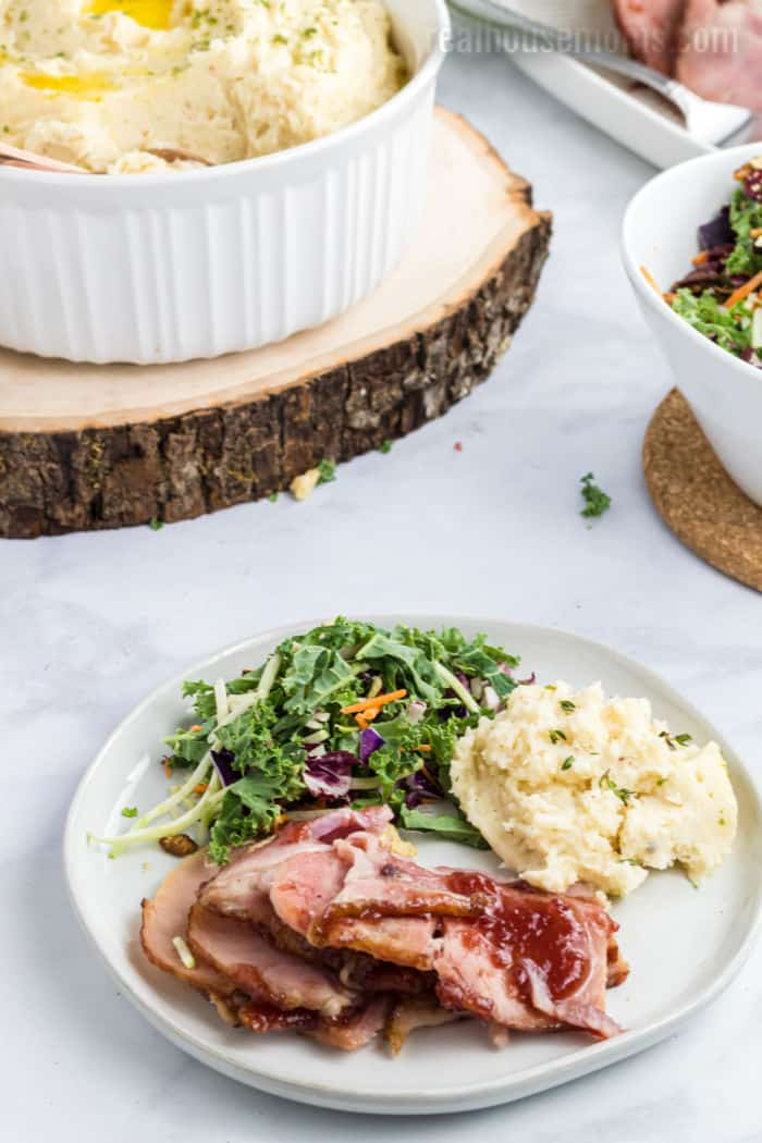 mashed potatoes served with salad and ham