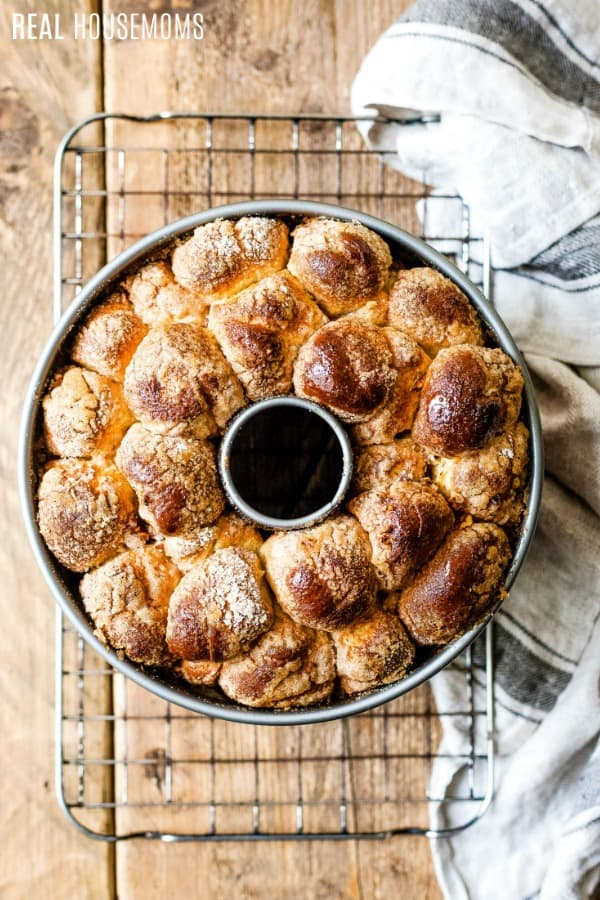 monkey bread in a bundt pan just after baking