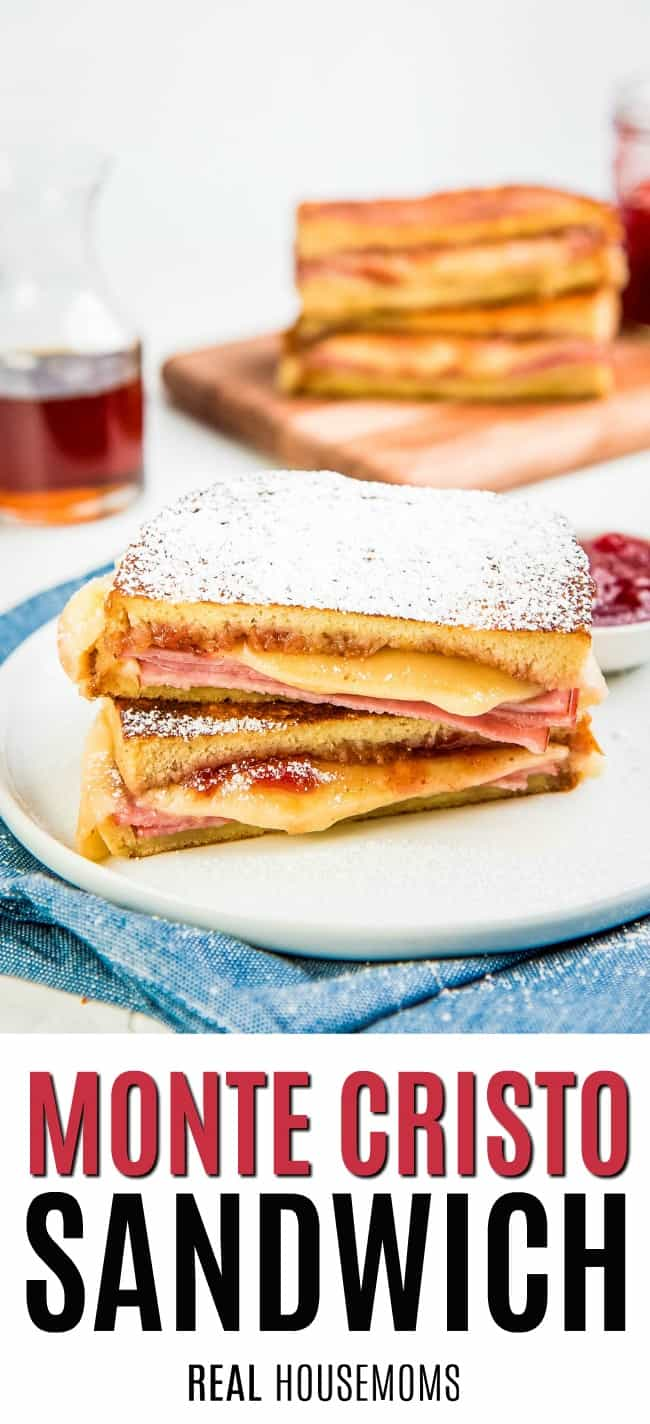 monte crisot sandwich topped with powdered sugar