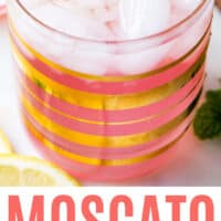 close up of moscato pink lemonade punch in a rocks glass with recipe name at bottom