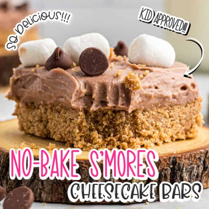 square image of close up of NO-Bake S'mores Cheesecake bars on top of a wooden plate