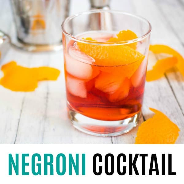 square image of negroni cocktail with text