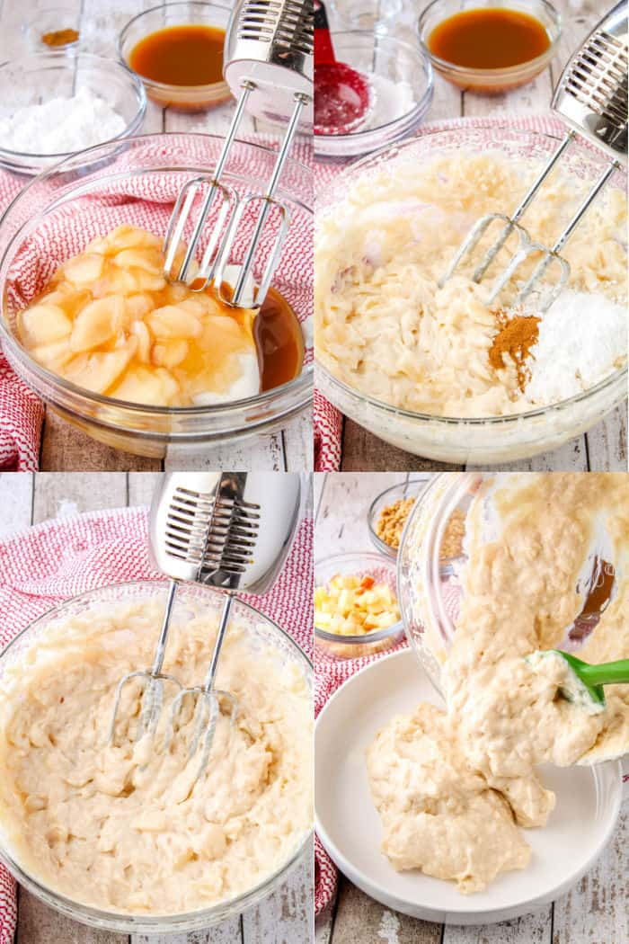 apple pie filling, cream cheese, caramel and vanilla in a mixer bowl next to a hand mixer, apple cheesekcae mixture with powereder sugar and ground cinnamon on top, apple cheesecake dip after mixing, cheesecake dip being poured into a serving bowl