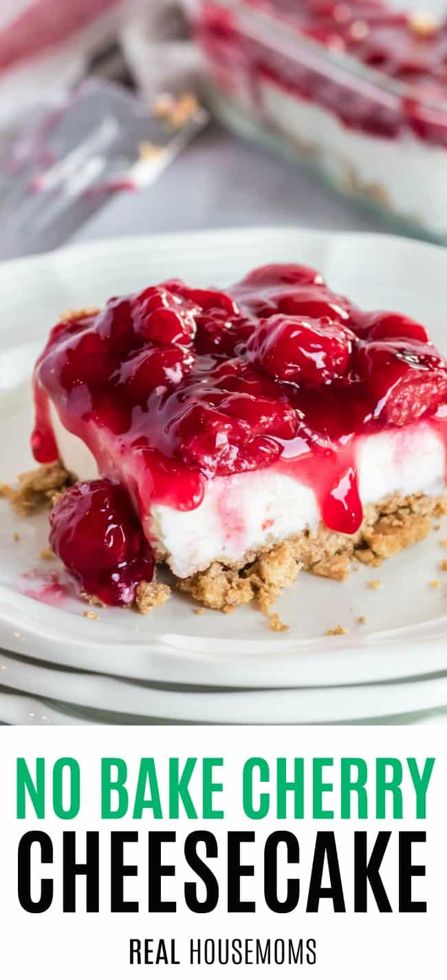 slice of no bake cherry cheesecake on a plate