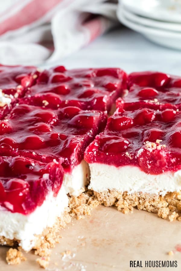 close up of cherry cheesecake bars
