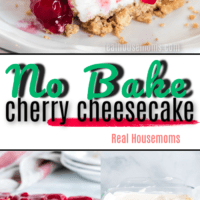 Collage of cherry cheesecake, a slice on a white plate, in the pan with some missing and some with not topping on