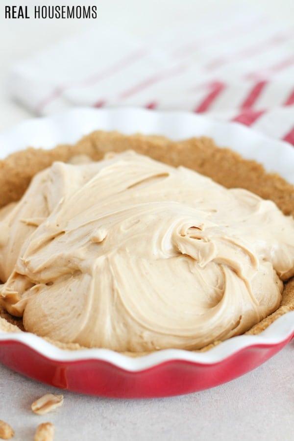 No bake peanut butter filling in a graham cracker pie crust