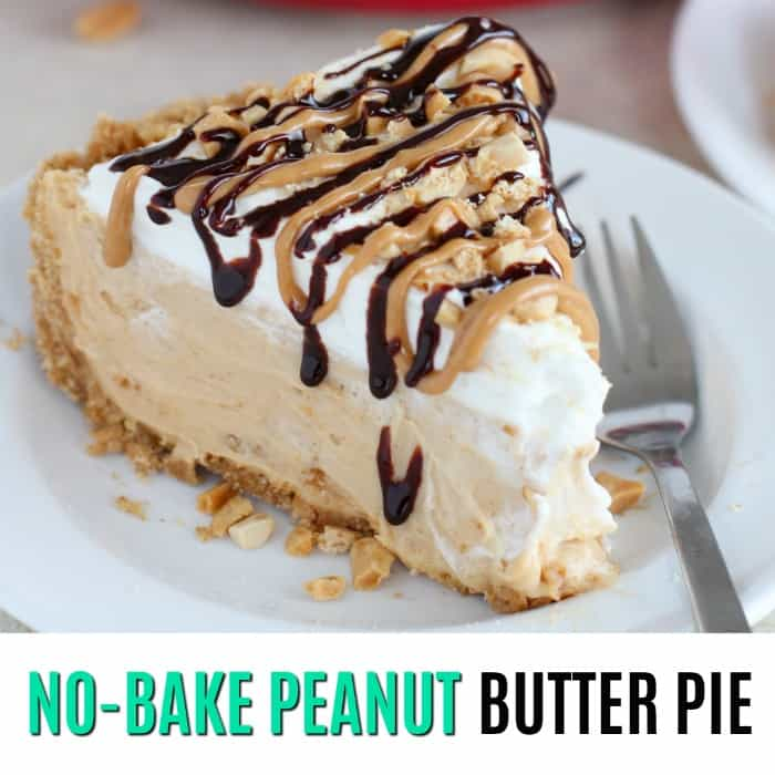 square image of no bake peanut butter pie with text