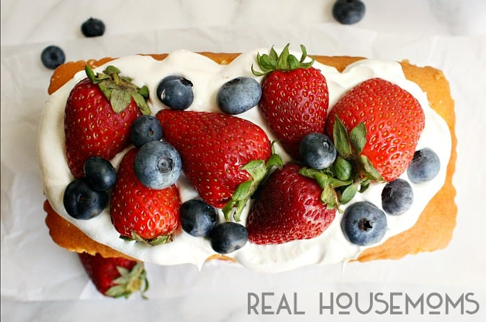 This NO BAKE RED WHITE AND BLUE CAKE is made with pound cake, whipped topping, and lots of fresh summer berries!