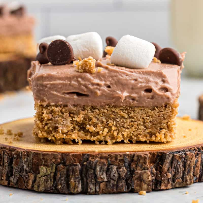 square image of a s'mores cheesecake bar on a cut log plate