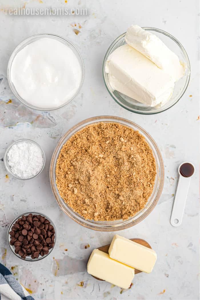 ingredients to make s'mores no bake cheesecake bars