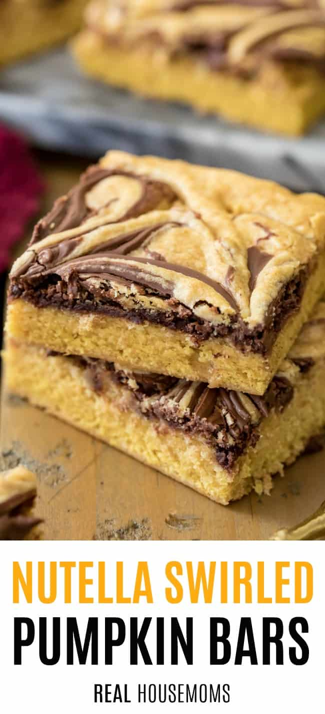 two nutella swirled pumpkin bars stacked up