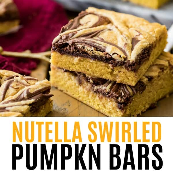 square image of nutella swirled pumpkin bars with text