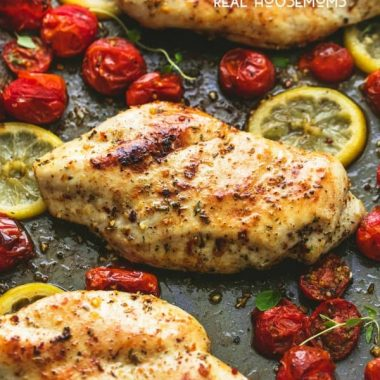 Easy One Pan Baked Italian Chicken & Tomatoes is the perfect simple and healthy sheet pan dinner for busy nights, with great flavors and cleanup is a cinch!