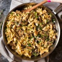 Everyone has heard of beef stroganoff, but this chicken version is every bit as hearty and comforting! Plus, the egg noodles cook right in the same pan, to make this one pan, 30-minute meal!