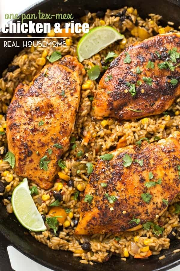ONE PAN TEX-MEX CHICKEN AND RICE is perfect for a busy weeknight meal or a dish to impress your friends and family! All you need is one pan and 45 minutes until dinner is ready!