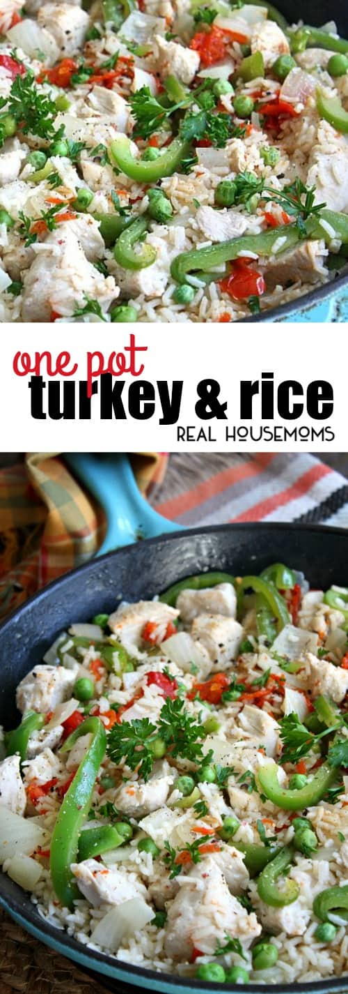 This One Pot Turkey and Rice is ready in less than 30 minutes and filled with everything you need for a complete meal, meat, vegetables, and rice!