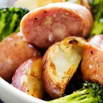 One Pan Rosemary Garlic Broccoli, Potatoes & Sausage