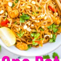 pad thai in bowl with pink lettering