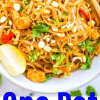 one image of pad thai in a bowl with chopsticks with blue lettering