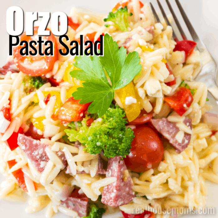 square image of orzo pasta salad with text